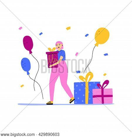 Woman Hold Gift And Balloons. Dancing On Party. Happy Girl With Colorful Confetti And Presents, Fun