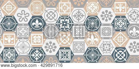 Patchwork Tile. Majolica Pottery Tile. Portuguese And Spain Decor. Ceramic Tile In Talavera Style Il