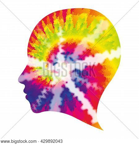70s Shibori Tie Dye Abstract Background In Human Head Profile Shape Hippie Style Psychedelic Fabric