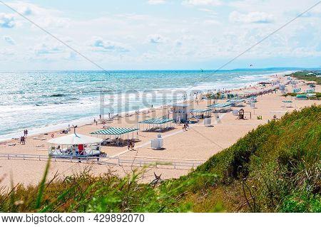 Beach On The Bugaz Spit In The Village Of Blagoveshchenskaya In The Krasnodar Territory, Russia