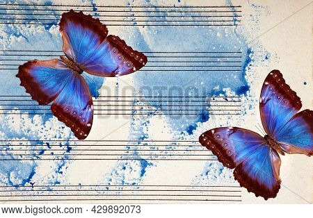 Morpho Blue Butterflies And Notes. Butterfly Melody. Photo Of Old Music Sheet In Blue Watercolor Pai