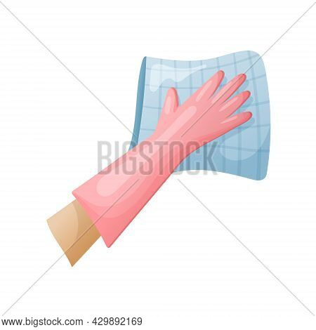 Vector Isolated Illustration Of A Hand In A Rubber Cleaning Glove Holding A Rag And Wiping The Dirt.