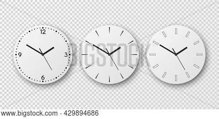 Vector 3d Realistic White Wall Office Clock Dial Icon Set Isolated. White Dial. Design Template, Moc