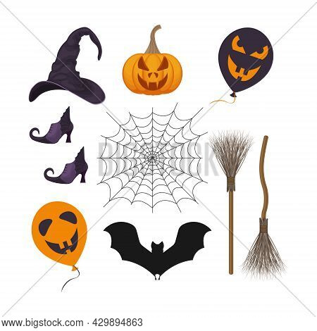 A Festive Set Featuring Halloween Symbols, Such As A Pumpkin Lantern, A Witch S Broom, Witch Boots,