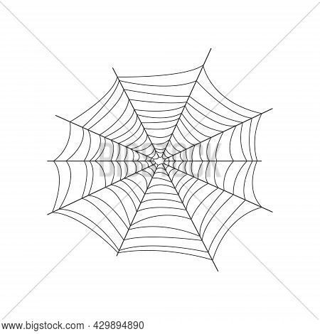 The Image Of The Web. The Net Is A Trap For Insects. Spider Web, A Symbol Of Halloween. Vector Illus