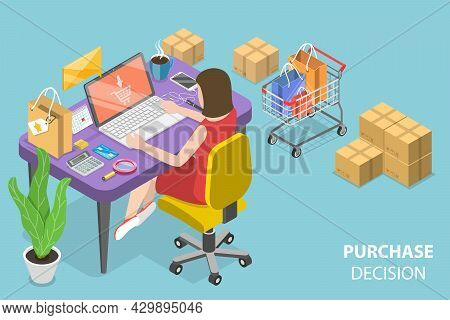 3d Isometric Flat Vector Conceptual Illustration Of Purchase Decision, Customer Journey Map