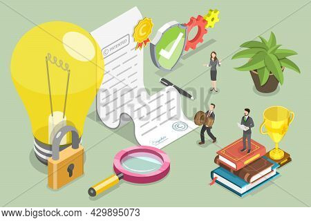 3d Isometric Flat Vector Conceptual Illustration Of Copyright And Intellectual Property Protection,