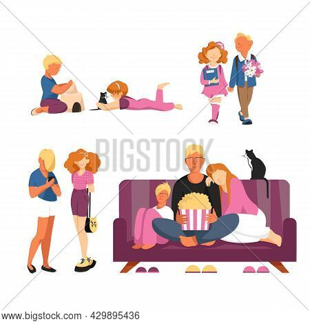 Stages Of Growing Up. A Set Of Vector Illustrations For Children And Adults. Stages Of Life