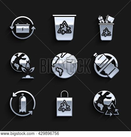 Set Earth Globe, Plastic Bag With Recycle, Planet Earth And Recycling, No Plastic Bottle, Recycling,