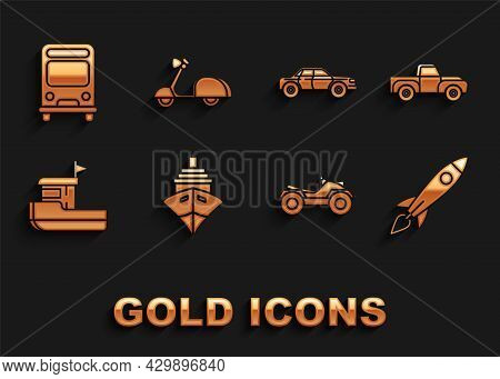 Set Cargo Ship, Pickup Truck, Rocket With Fire, All Terrain Vehicle Or Atv Motorcycle, Fishing Boat,