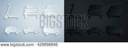 Set Sedan Car, Car, Hatchback, Delivery Cargo Truck Vehicle, Pickup And Scooter Icon. Vector