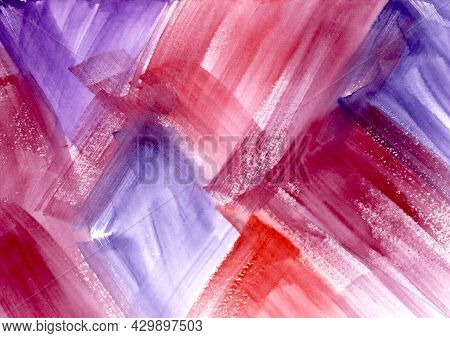 Watercolor Paint Abstract Multicolored Gradient Background. Red, Orange And Violet Spot Texture. Bac