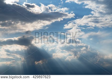 Panoramic Image Of  Sky With Cumulus Clouds