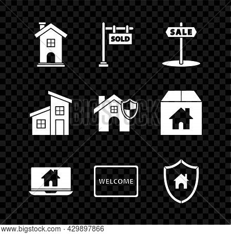 Set Home Symbol, Hanging Sign With Text Sold, Sale, Laptop And Smart Home, Doormat The Welcome, Hous