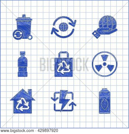 Set Paper Shopping Bag With Recycle, Recharging, Recycling Plastic Bottle, Radioactive, Eco House Re