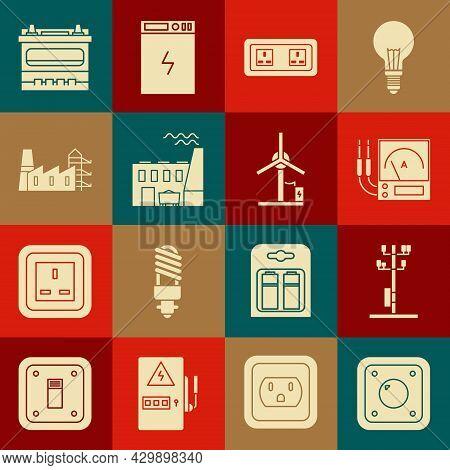 Set Electric Light Switch, High Voltage Power Pole Line, Ampere Meter, Multimeter, Voltmeter, Electr