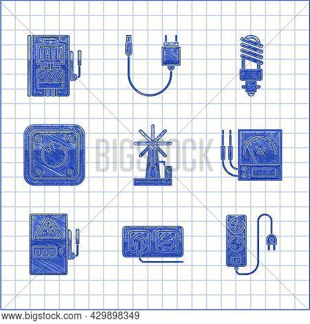 Set Wind Turbine, Electrical Outlet, Extension Cord, Ampere Meter, Multimeter, Voltmeter, Panel, Lig