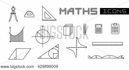A Set Of Linear Isolated Elements For Maths. Geometric And Mathematical Objects. Vector Illustration