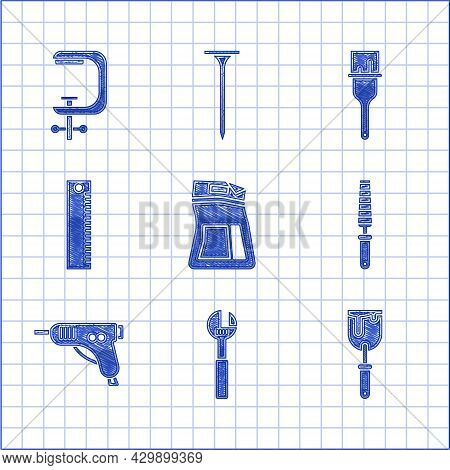 Set Cement Bag, Adjustable Wrench, Putty Knife, Chisel Tool For Wood, Electric Hot Glue Gun, Ruler,