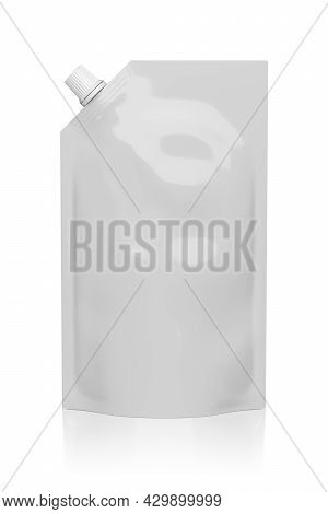 White Plastic Pouch Stand Up Bag With A Corner Lid Isolated On White Background. Mock-up Template Fo