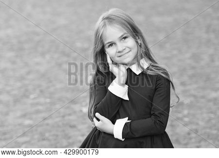 You Are A New Beauty. Beauty Look Of Small Pupil. Happy Child Wear Uniform Outdoors. Hair Salon. Ski