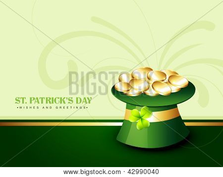 vector green saint patrick's day hat with golden coins