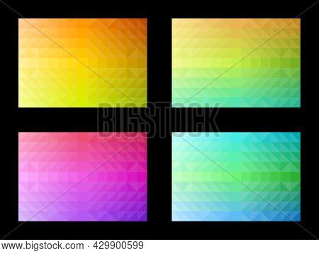 Abstract Pattern Set. Geometric Shapes, Triangles, Squares, Gradient Colors. Colorful Background. Te