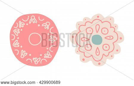 Cute Hand Drawn Saucer As Small Dishware For Serving Tea Or Coffee Vector Set