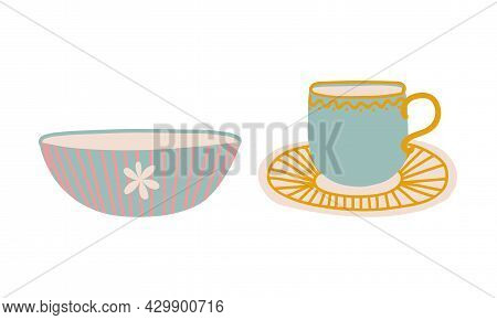 Cute Hand Drawn Cup And Bowl For Drinking Tea Vector Set