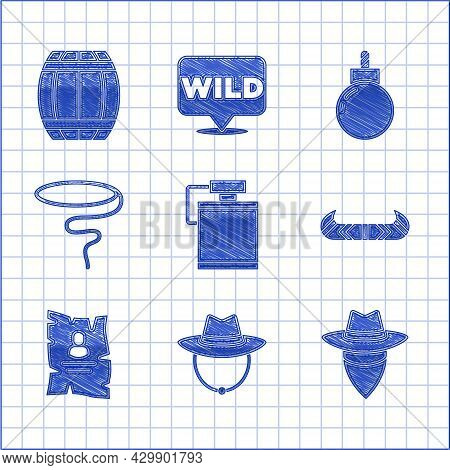 Set Canteen Water Bottle, Western Cowboy Hat, Cowboy, Kayak Or Canoe And Paddle, Wanted Western Post