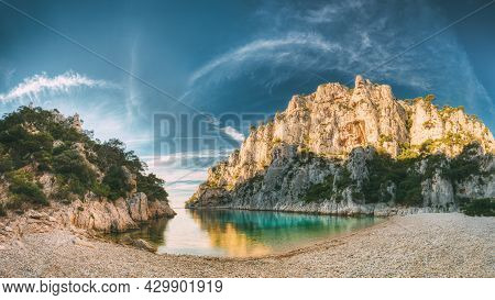 France, Cassis. Panorama Of Beautiful Nature Of Calanques On The Azure Coast Of France At Morning Su