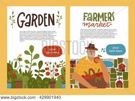 Gardening A4 Banner Set. Idea Of Local Farming And Harvesting. Fruit And Vegetable Organic Harvest.