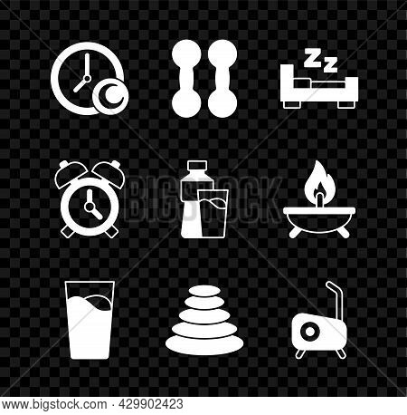 Set Time To Sleep, Dumbbell, Glass With Water, Stack Hot Stones, Stationary Bicycle, Alarm Clock And