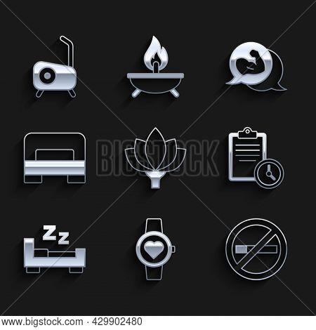 Set Lotus Flower, Smart Watch, No Smoking, Sport Training Program, Time To Sleep, Big Bed, Bodybuild