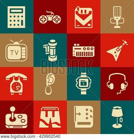 Set Floor Lamp, Headphones, Electric Bass Guitar, Cigarettes Pack Box, Camera Roll Cartridge, Retro