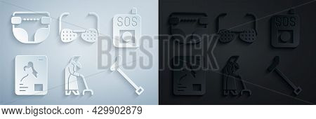 Set Grandmother, Press Sos Button, X-ray Shots, Walking Stick Cane, Blind Glasses And Adult Diaper I