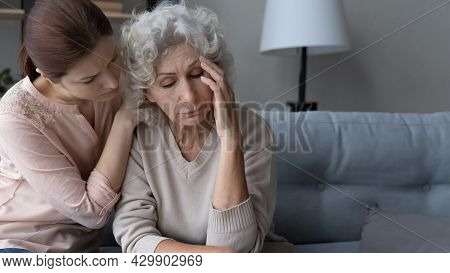 Caring Grownup Daughter Support Comfort Upset Old Mother