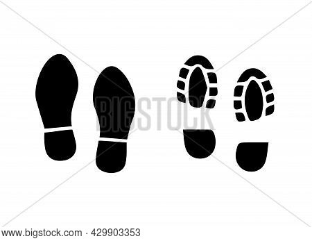 Big Set Of Silhouette Footprints Isolated On White.boot Footprint. Vector Illustration