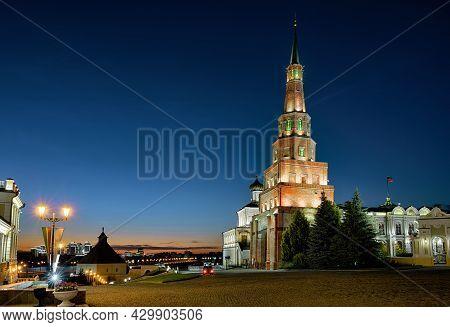 Kazan Kremlin At Night, Tatarstan, Russia. Old Leaning Suyumbike Tower Is Tourist Attraction Of Kaza