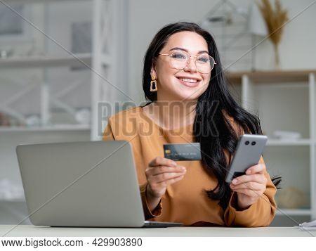 Online Payment. Happy Woman. Corporate Order. Banking Transfer. Smiling Elegant Lady Looking Satisfi