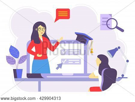 Online Courses Vector Illustration Flat Person Learn Virtual Concept Modern Knowledge Development Us