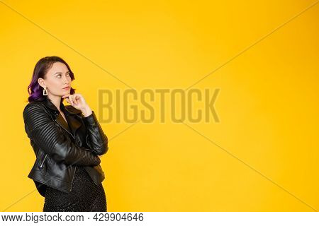 Puzzled Woman. Sale Information. Festive Discount. Advertising Background. Thoughtful Lady In Stylis