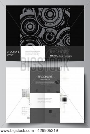 Vector Layout Of Two A4 Cover Mockups Templates For Bifold Brochure, Flyer, Cover Design, Book Desig