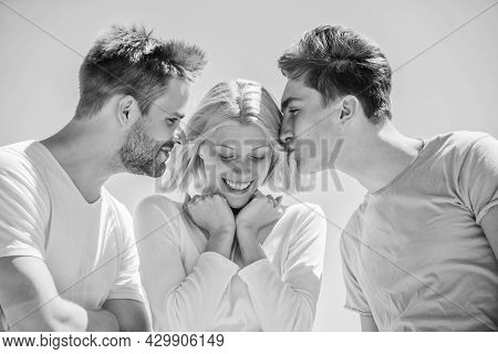 Friend Zone Concept. Happy Together. Cheerful Friends. People Outdoors. Happy Woman And Two Men. Fri