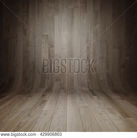 Old Curved Wooden Background / Grungy Old Curved Wooden Interior, Texture With Copy Space