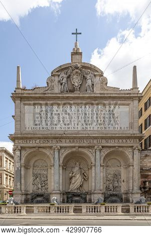 Old Famous Fontana Dell'acqua Felice, Rome, Italy