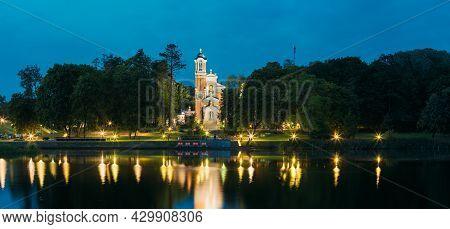 Mir, Belarus. Panorama Of Evening Lake Of Chapel And Burial Vault Of Svyatopolk-mirsky Family In Bri