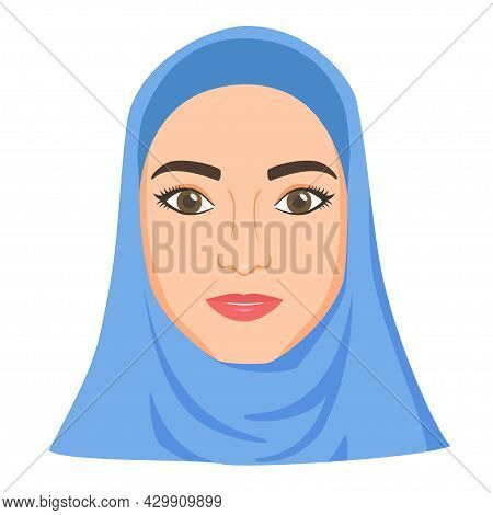 Muslim Woman In Hijab. Speaking About Moslem Woman Rights And Problem Is Censored. Female Victim Of