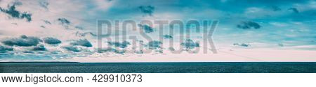Panorama Of Sea Ocean And Blue Sky Background With Cloudscape. Rippled Water Surface In Gulf Of Finl