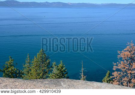 Sunny Autumn Scenic Of Lake Tahoe From The Logan Shoals Overlook, Along Nevada Shoreline.